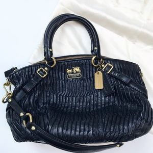 Coach Leather Ruched Handbag Shoulder Bag Black